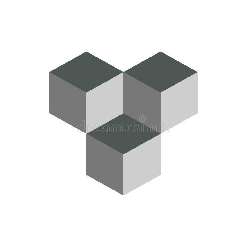 求等量商标概念, 3d传染媒介例证的立方 平的设计样式 立方体建筑 标志样式 设计图象 时尚b 向量例证