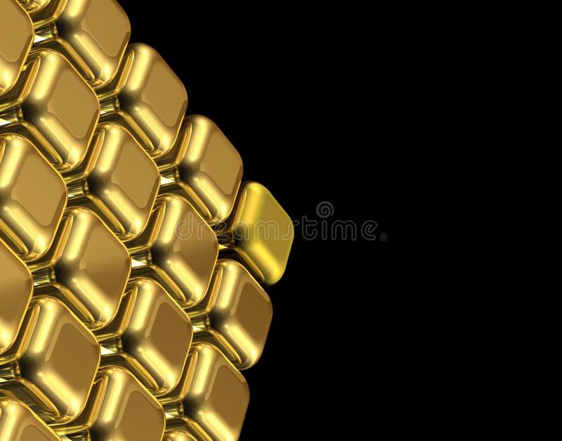 求金子的立方 向量例证