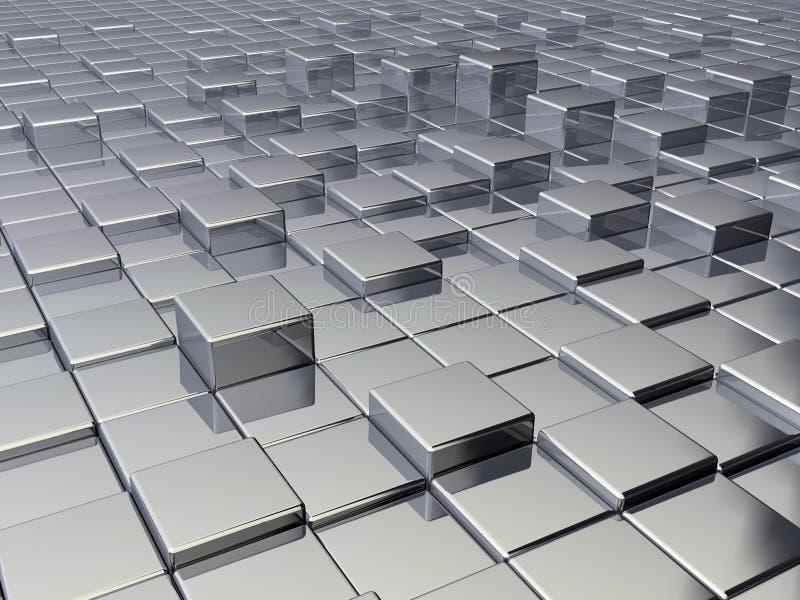 求金属的立方 库存例证