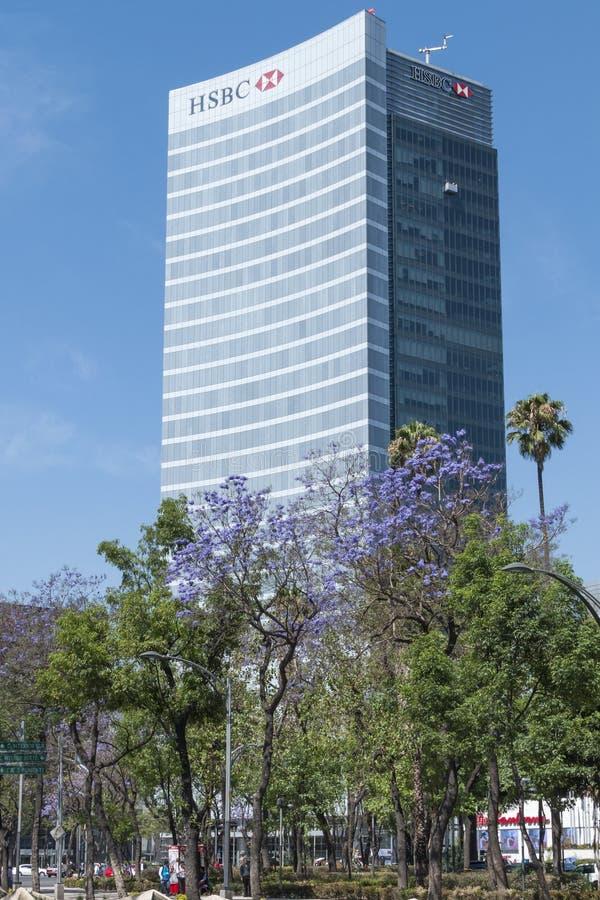 汇丰财政银行业务塔在墨西哥城 库存图片