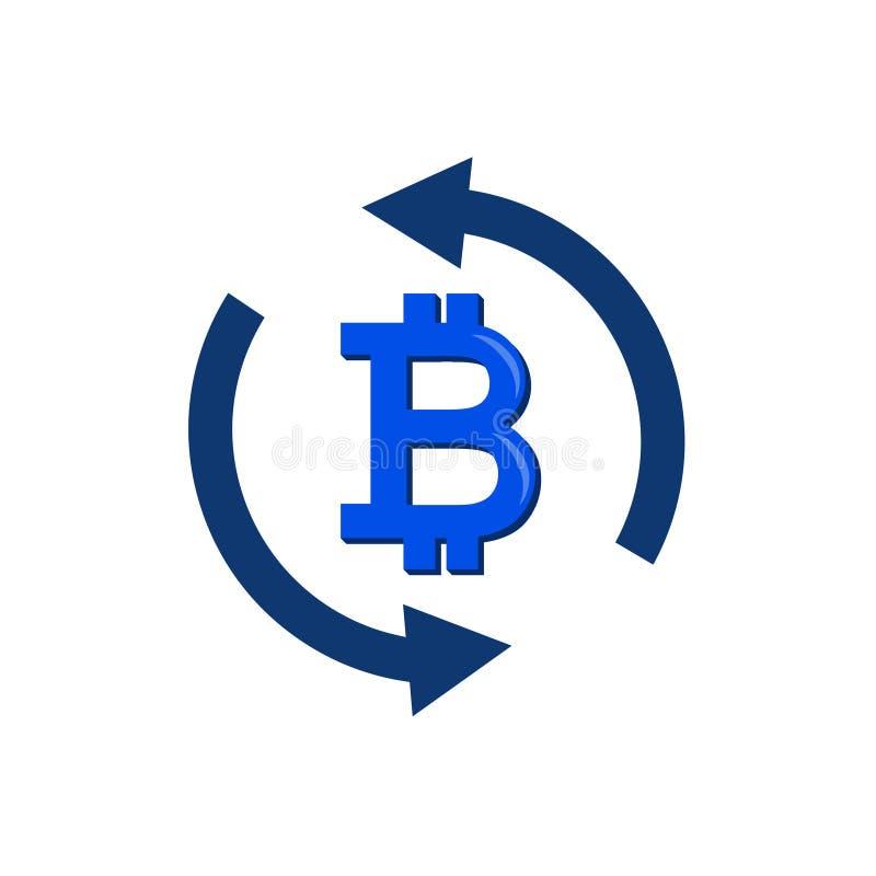 汇兑简单的象 汇款标志 在自转箭头标志的Bitcoin 质量设计元素 库存例证