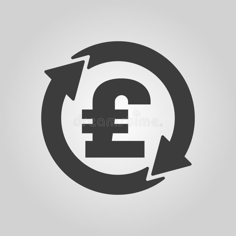 汇兑英镑象 现金和金钱,财富,付款标志 平面 皇族释放例证