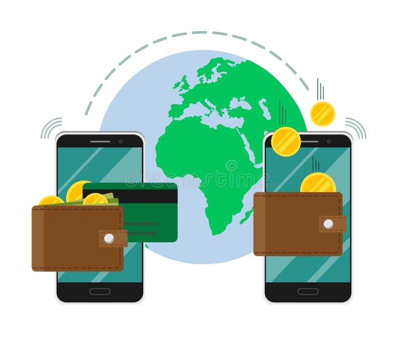 汇款通过手机环球传染媒介例证、硬币和信用卡,汇款,无线,流动pho 库存例证