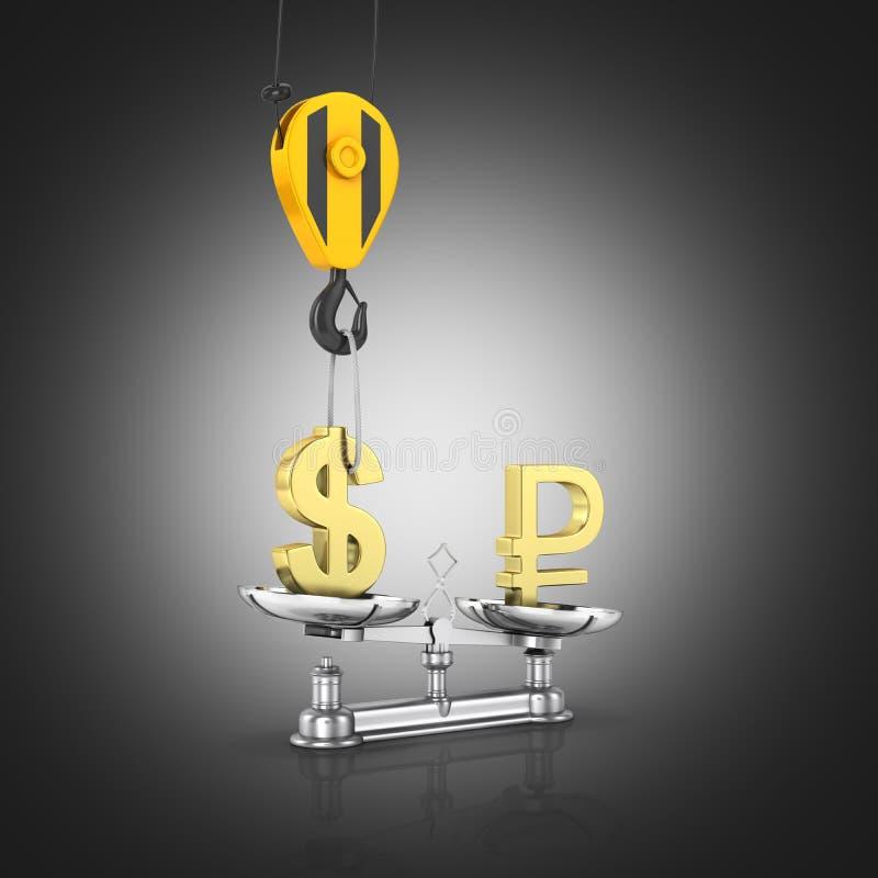 汇率支持美元的概念对欧元起重机脱掉美元并且降低在黑梯度背景3d的卢布 向量例证