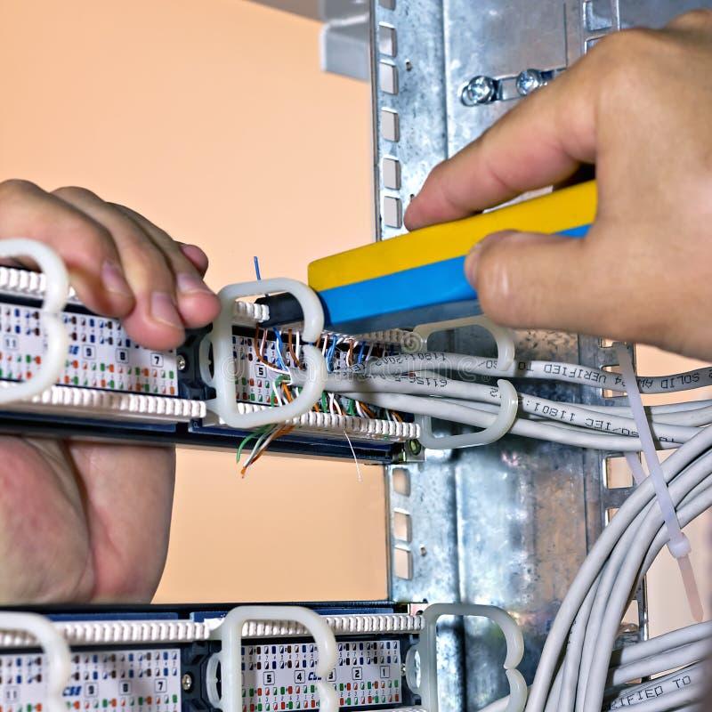 汇编网络接线板,背面图 免版税库存照片