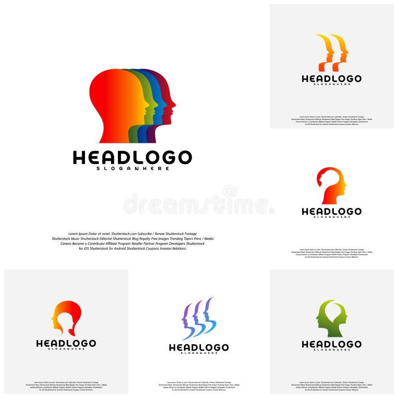 汇集五颜六色的头脑商标传染媒介,顶头智力商标设计观念传染媒介 向量例证