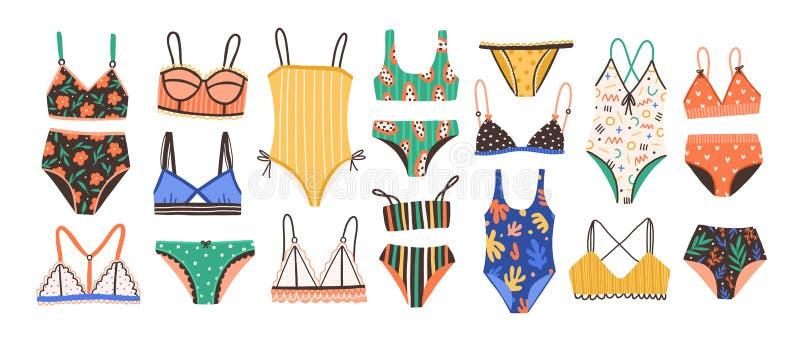 汇集在白色背景和游泳衣的隔绝的时髦的妇女的女用贴身内衣裤 设置时兴的内衣和 库存例证