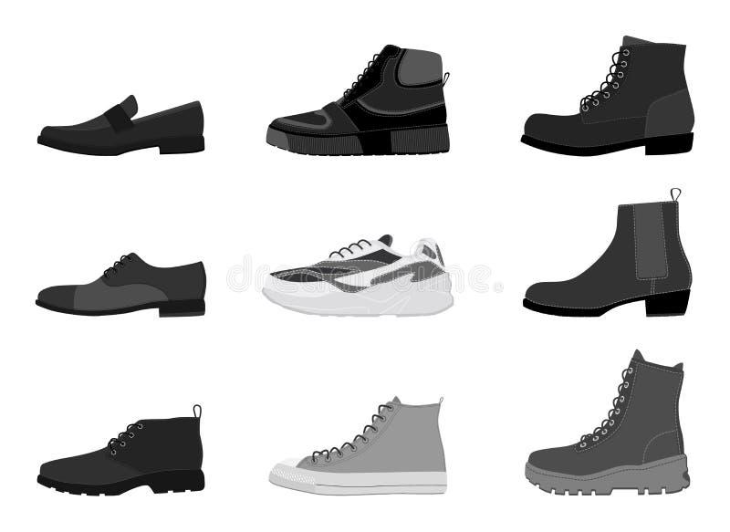 汇集在白色背景隔绝的人的鞋类 设置人起动 库存例证