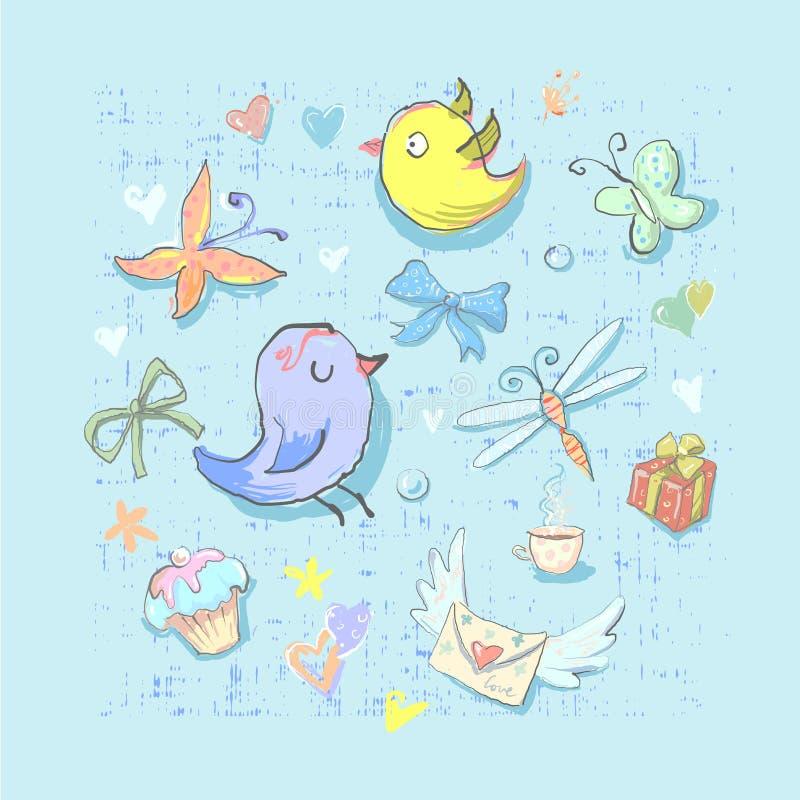 汇集套逗人喜爱的生日聚会主题的鸟和不同的元素手拉直接地在传染媒介 向量例证