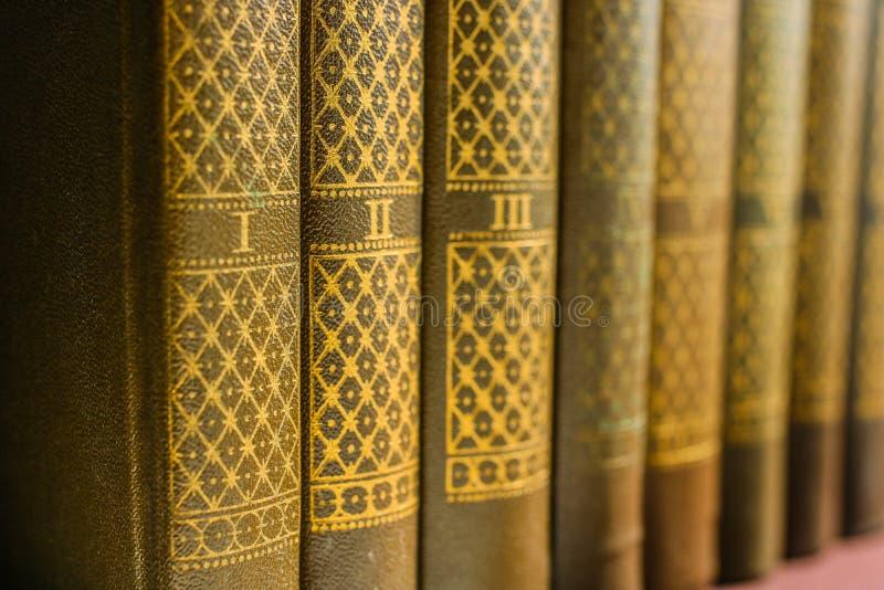 汇集或文集在被编号的容量在一个架子在图书馆里 关于文学爱的背景  免版税库存图片