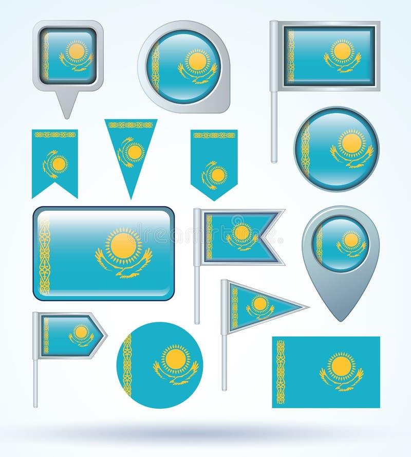 汇集旗子套哈萨克斯坦,传染媒介例证 库存例证