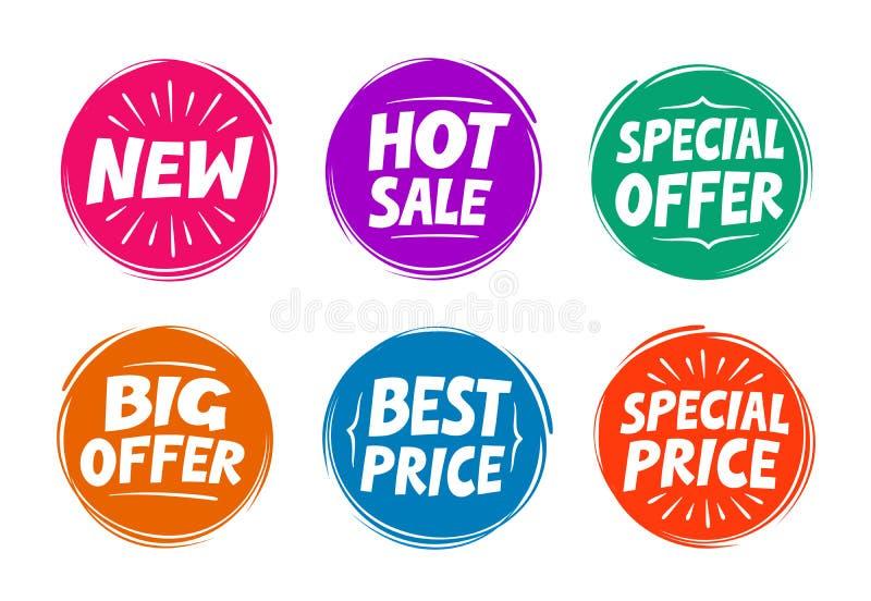 汇集标志例如特价优待,热的销售,最佳的价格,新 图标 皇族释放例证