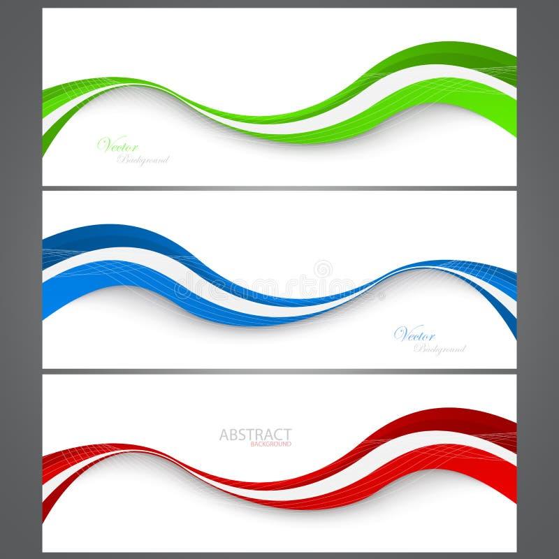 汇集横幅现代波浪设计 Ð ¡ olorful背景 Vec 皇族释放例证