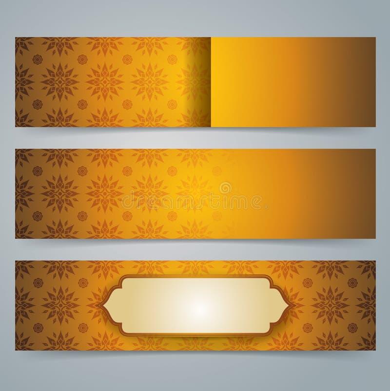 汇集横幅设计,亚洲艺术背景 向量例证