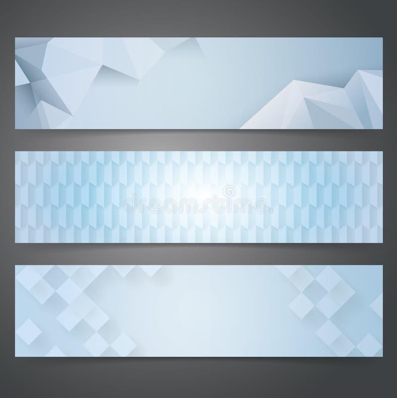 汇集横幅设计,蓝色几何背景 皇族释放例证