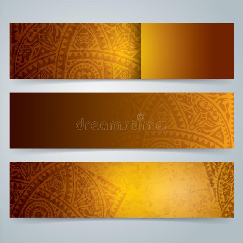 汇集横幅设计,非洲艺术背景 皇族释放例证