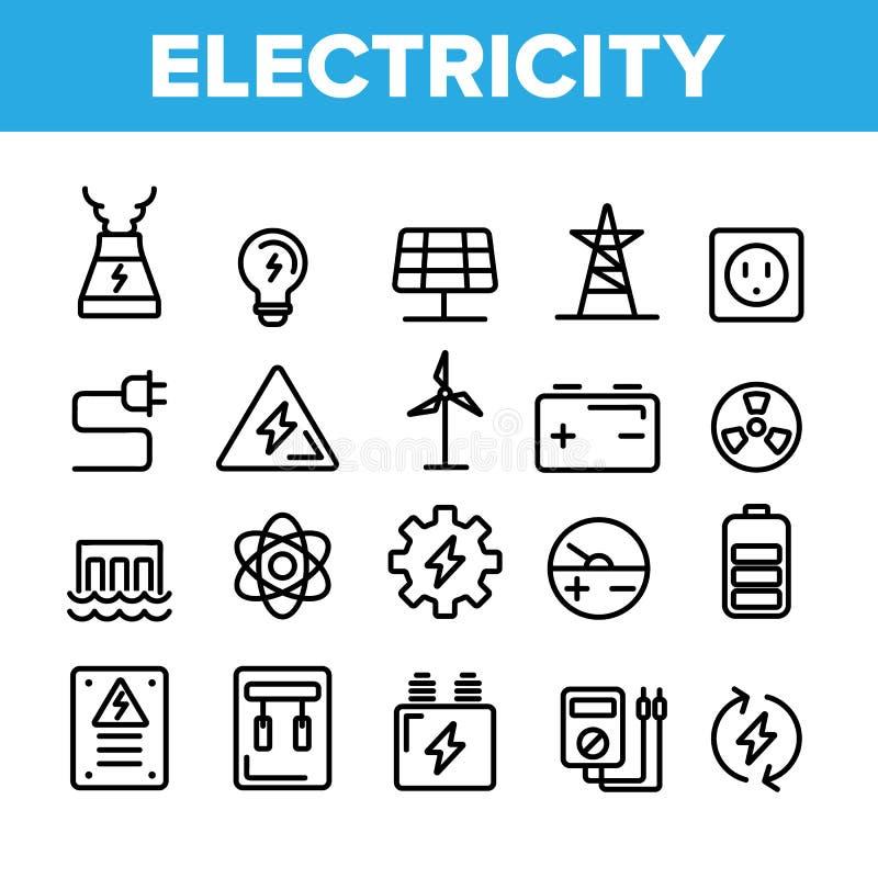 汇集电产业象设置了传染媒介 库存例证