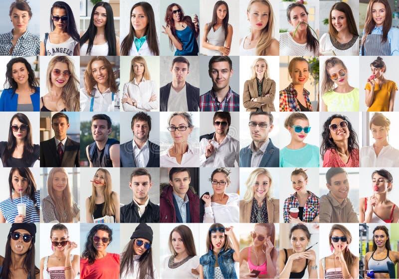 汇集的不同许多愉快的微笑的青年人面对白种人妇女和人 概念事务,具体化 库存图片