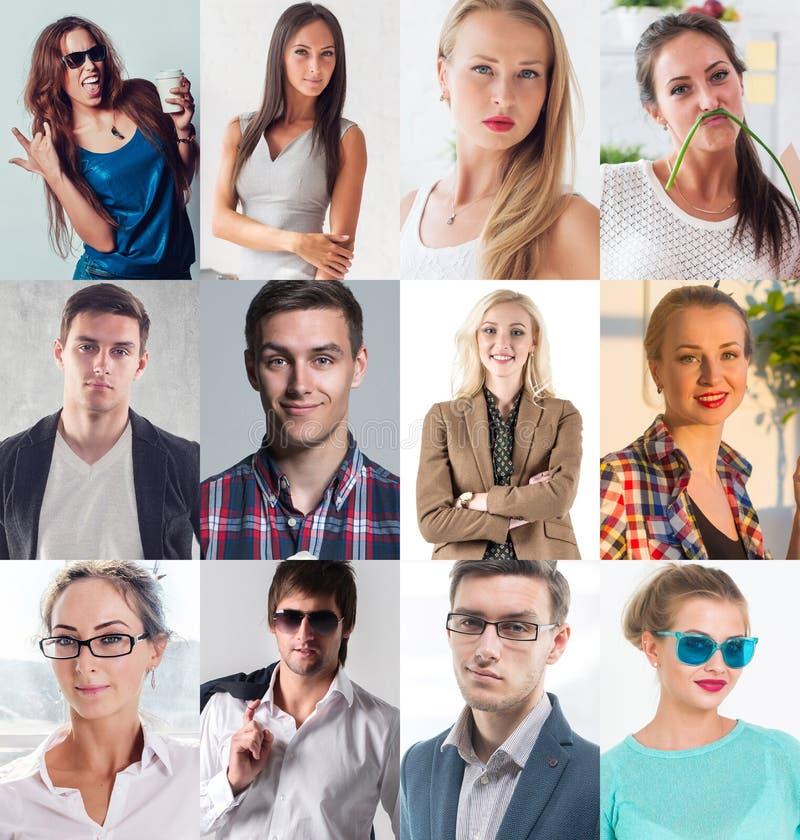 汇集的不同许多愉快的微笑的青年人面对白种人妇女和人 概念事务,具体化 库存照片