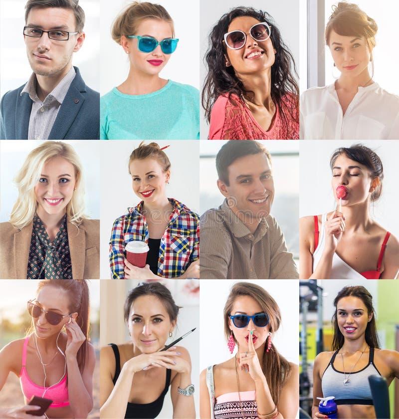 汇集的不同许多愉快的微笑的青年人面对白种人妇女和人 概念事务,具体化 免版税库存图片