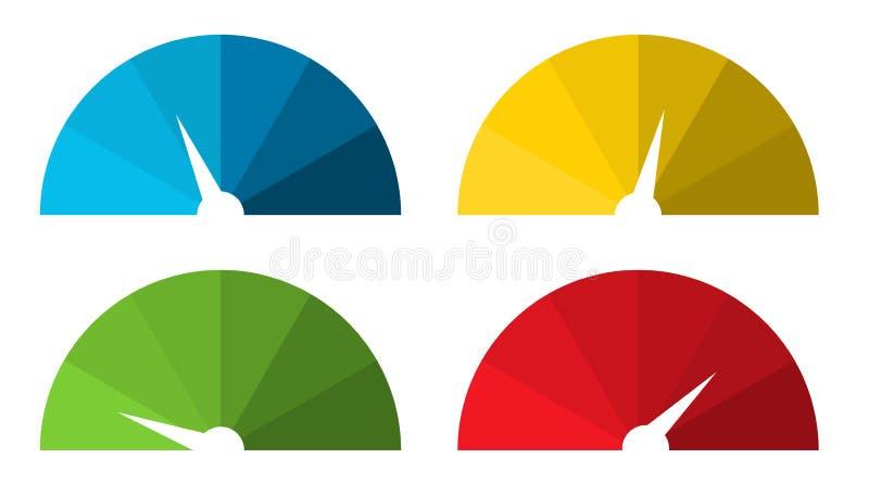 汇集的4隔绝了五颜六色的车速表 库存例证