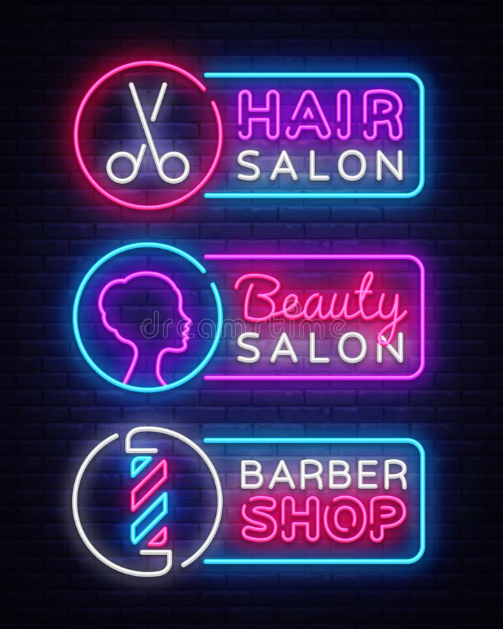 汇集霓虹灯广告传染媒介 Hairdress,理发店,美容院略写法,在现代趋向设计,传染媒介的象征 库存例证