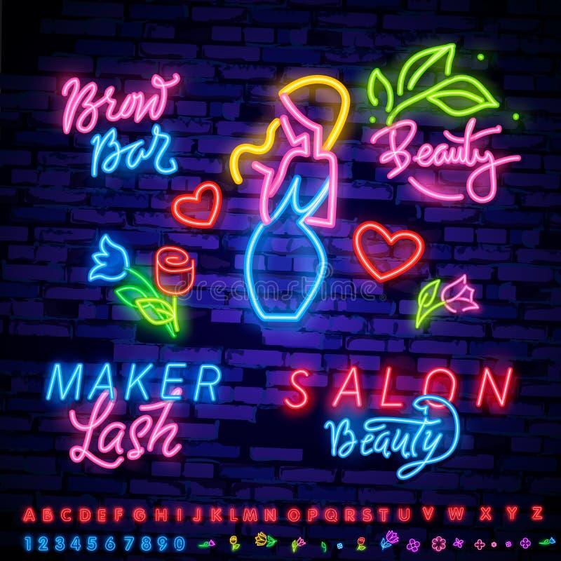 汇集霓虹灯广告 Hairdress,发廊略写法,在现代趋向设计,传染媒介模板,轻的横幅的象征, 库存例证