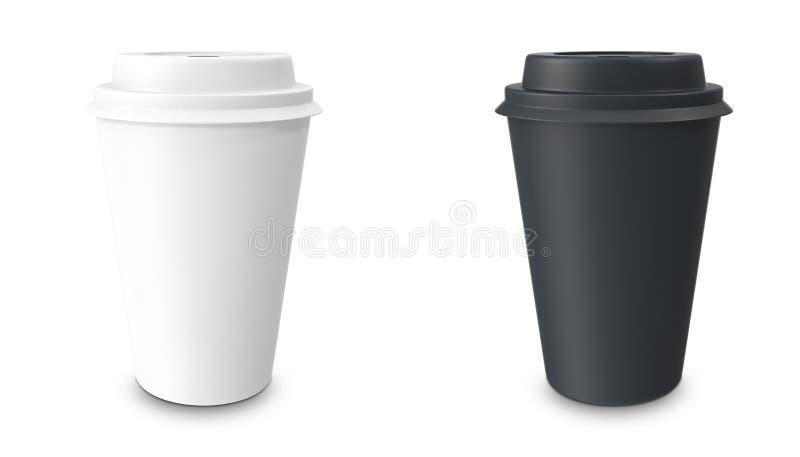 汇集,小组,集合,与杯座的外卖咖啡 背景查出的白色 皇族释放例证