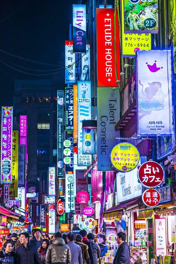 汉城夜生活 免版税库存照片