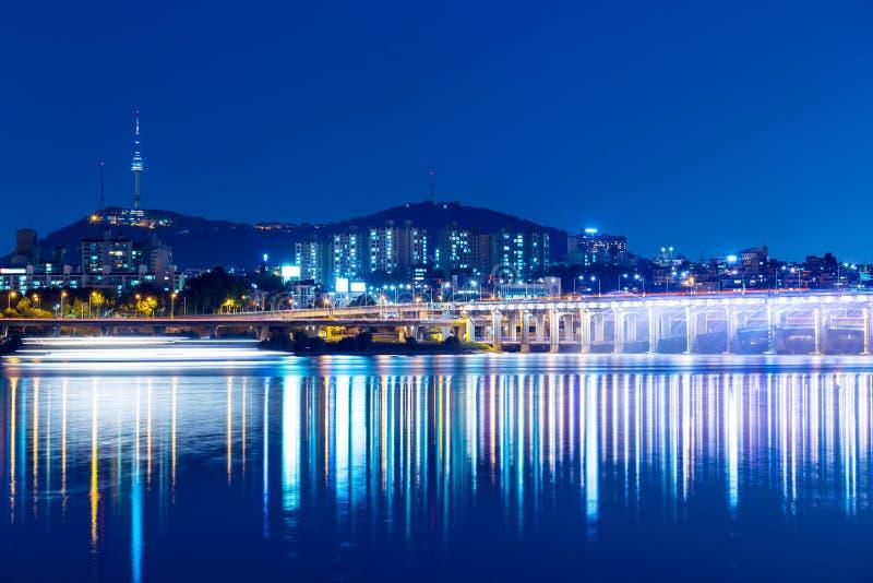 汉城市夜 免版税库存图片