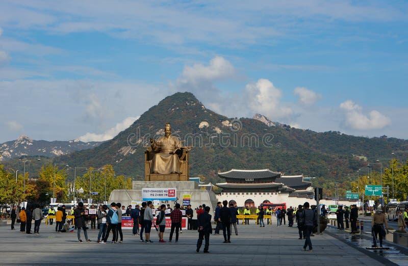 汉城,韩国:2016年10月28日国王Sejong的雕象 免版税库存照片
