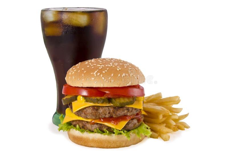 汉堡、炸薯条和可乐 库存图片