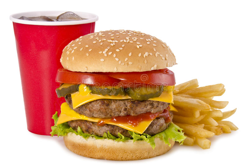 汉堡、炸薯条和可乐 免版税库存照片