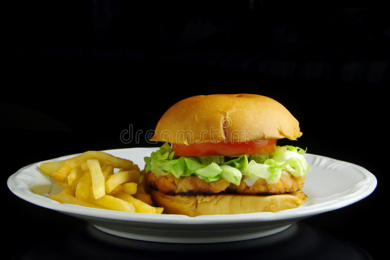 汉堡三文鱼 库存图片
