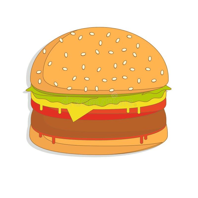 汉堡三明治例证,食物象,汉堡三明治隔绝了-快餐 库存例证