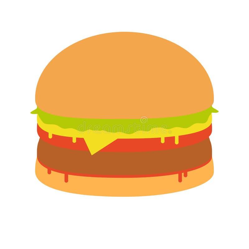 汉堡三明治例证,食物象,汉堡三明治隔绝了-快餐 向量例证