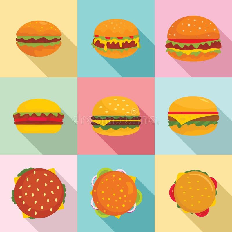 汉堡三明治面包小圆面包象设置了,平的样式 向量例证