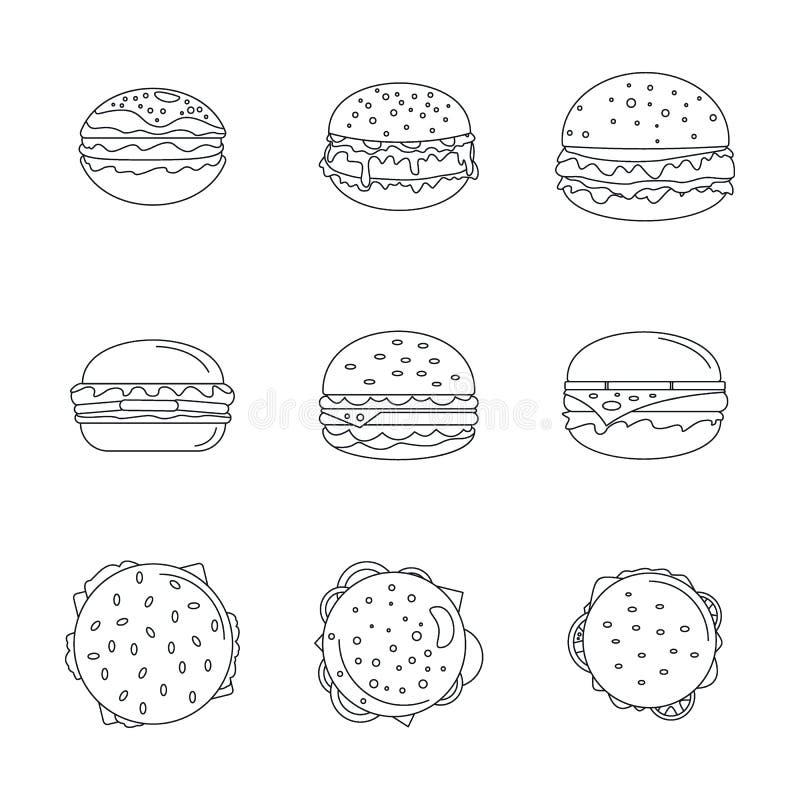 汉堡三明治面包小圆面包象设置,概述样式 库存例证