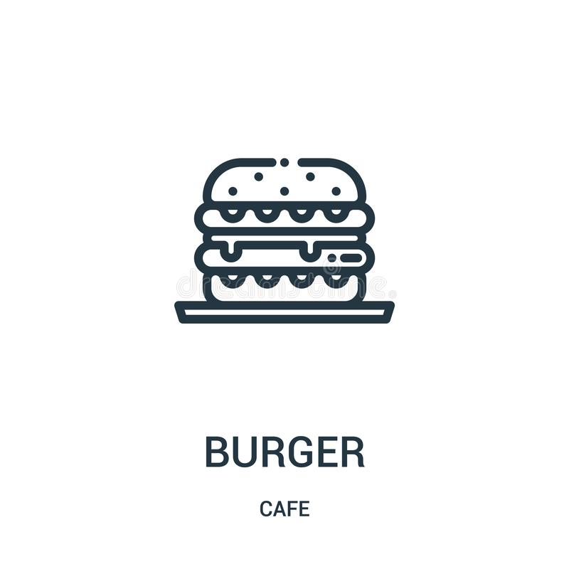 汉堡从咖啡馆汇集的象传染媒介 稀薄的线汉堡概述象传染媒介例证 r 库存例证