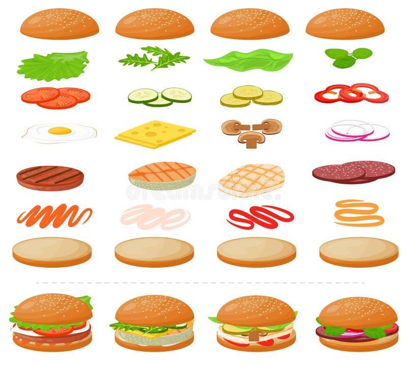 汉堡传染媒介快餐汉堡包或乳酪汉堡建设者与成份肉小圆面包蕃茄和乳酪例证 向量例证