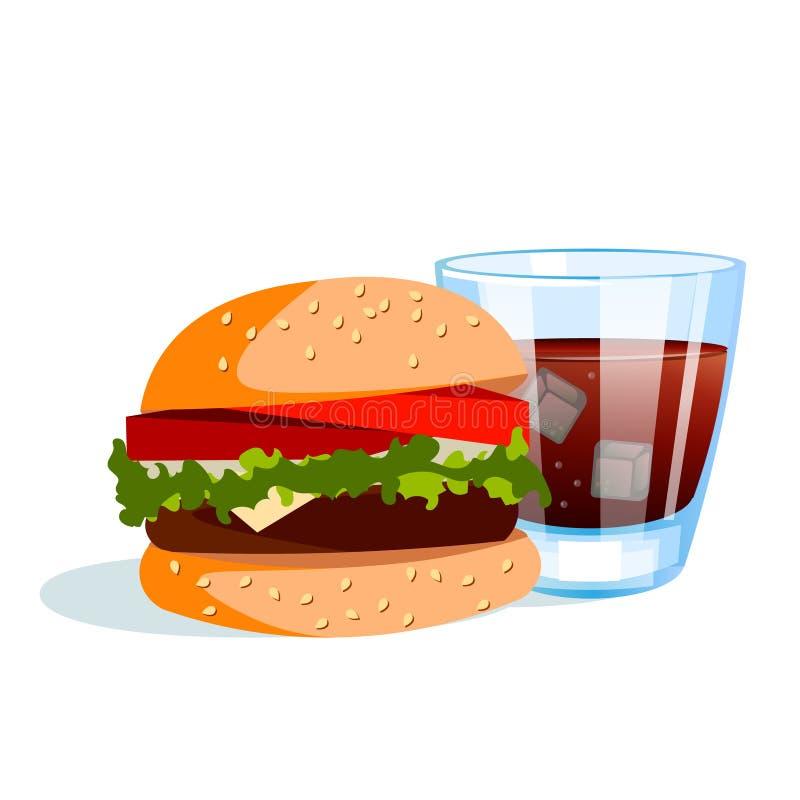 汉堡冷饮料 向量例证