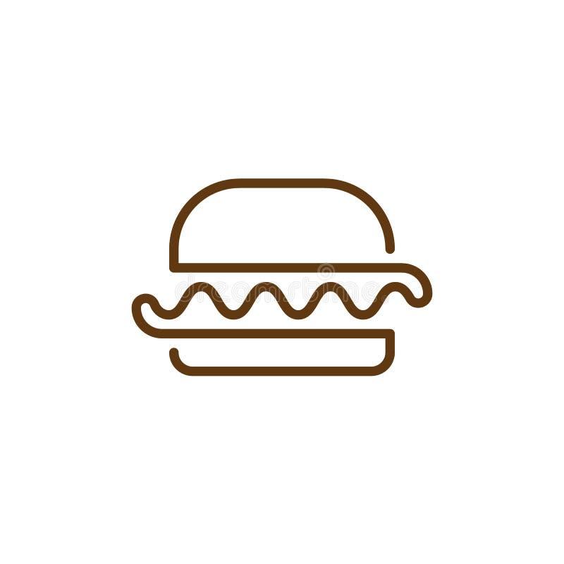汉堡包个别线路象,概述传染媒介标志,线性样式图表 标志,商标例证 库存例证