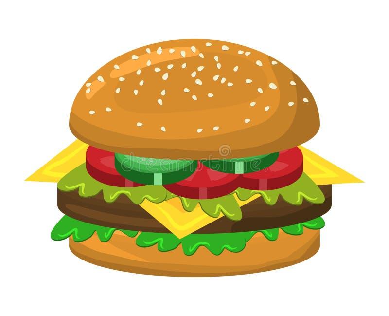 汉堡包传染媒介标志象设计 皇族释放例证