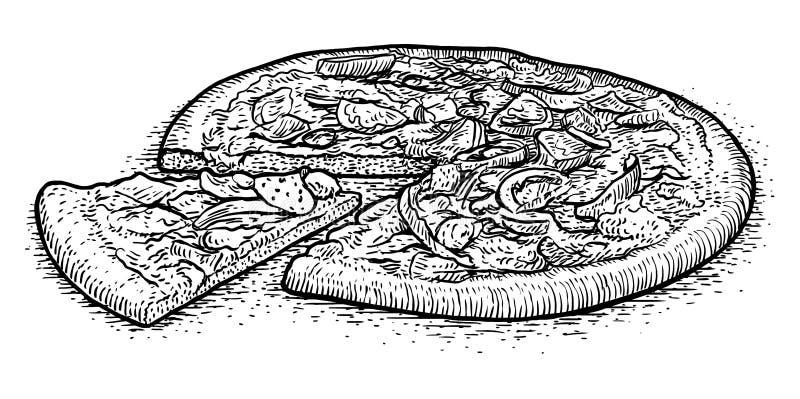 汉堡包例证,图画,板刻,墨水,线艺术, vectorpizza例证,图画,板刻,墨水图片