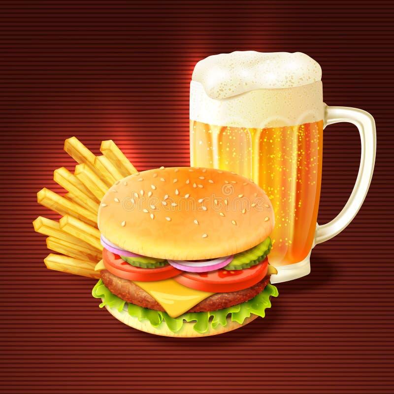 汉堡包和啤酒背景 皇族释放例证