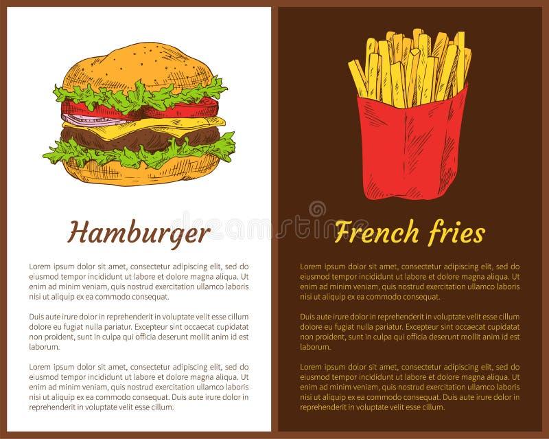 汉堡包和炸薯条传染媒介例证 皇族释放例证