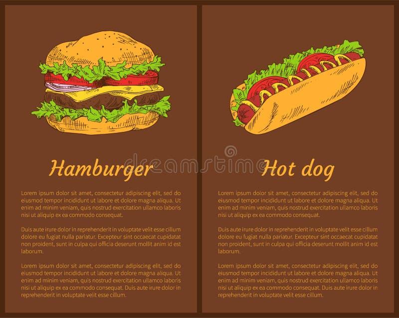 汉堡包和热狗集合传染媒介例证 向量例证
