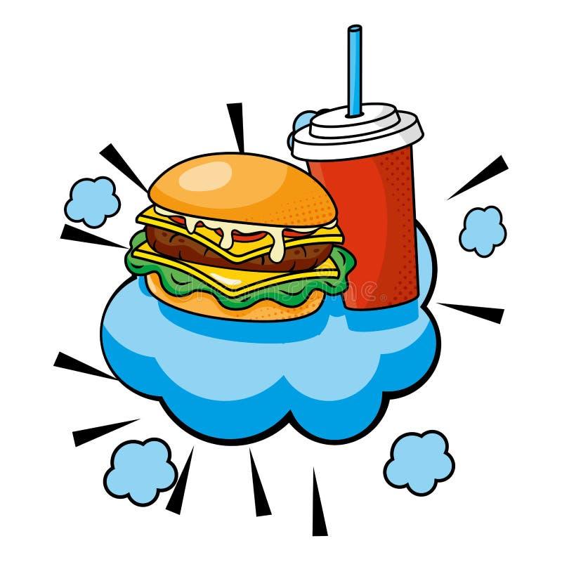汉堡包和苏打传染媒介例证 皇族释放例证