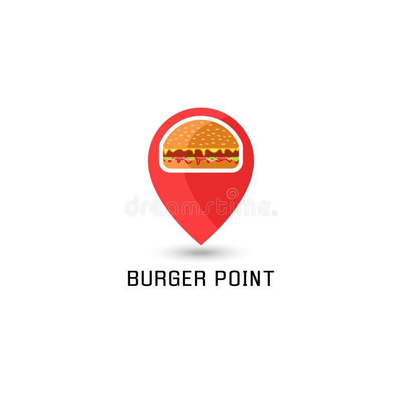 汉堡包商标尖别针地点三明治便当点 美国汉堡鲜美与传统成份 库存例证