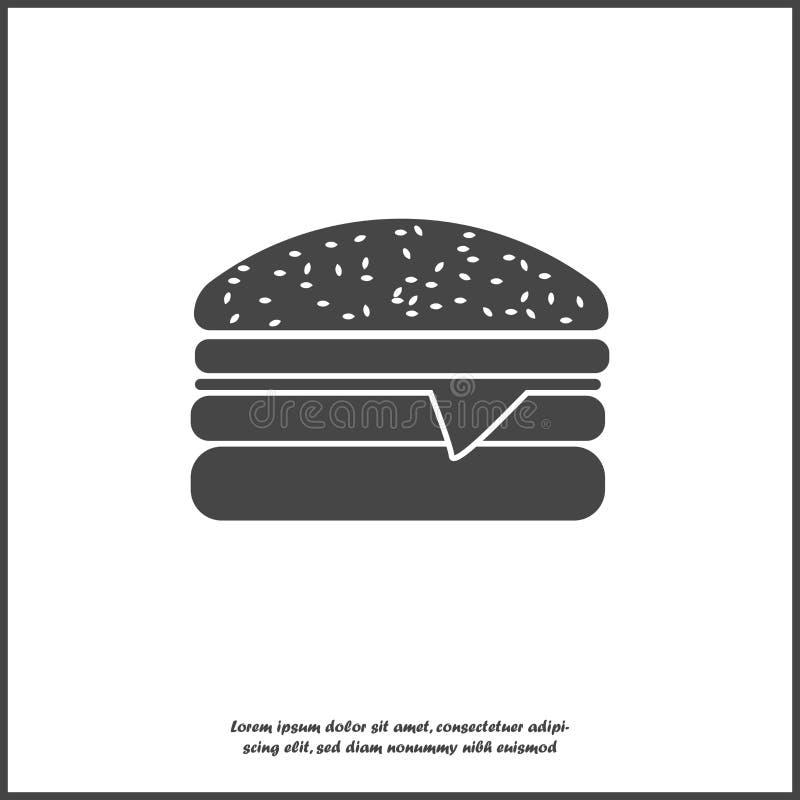 汉堡包在白色被隔绝的背景的传染媒介象 为容易的编辑例证编组的层数 皇族释放例证